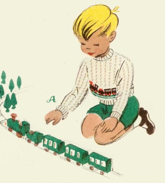 Eisenbahnpullover aus Musterstrickerei für Kinder, Bildrechte bei BuchVerlag für die Frau, Leipzig