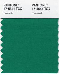 Farbprobe Emerald von Pantone, (c) Pantone.com